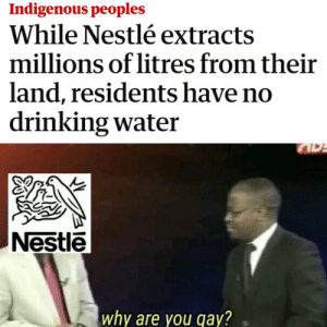 Bad, Drinking, and Water: Indigenous peoples  While Nestlé extracts  millions of litres from their  land, residents have no  drinking water  Nestle  why are you qay? Nestle the big bad