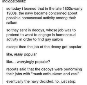 """Jobs, Navy, and Today: indigostohelit:  so today i learned that in the late 1800s-early  1900s, the navy became concerned about  possible homosexual activity among their  sailors  so they sent in decoys, whose job was to  pretend to want to engage in homosexual  activity in order to find gay sailors  except then the job of the decoy got popular  like, really popular  like... worryingly popular?  reports said that the decoys were performing  their jobs with """"much enthusiasm and zeal""""  eventually the navy decided. to. just stop. gay navy"""