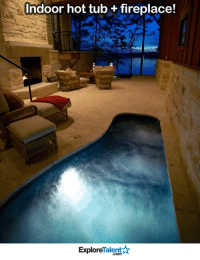 Memes, Coming Home, and 🤖: Indoor hot tub fireplace!  Talent A  Explore I wouldnt mind coming home to this every evening <3