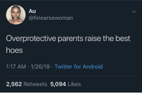 Android, Facts, and Hoes: inearsewoman  Overprotective parents raise the best  hoes  1:17 AM .1/26/19 Twitter for Android  2,562 Retweets 5,094 Likes Facts?