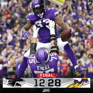 FINAL: @dalvincook and the @Vikings bring home a Week 1 win in Minneapolis! #ATLvsMIN https://t.co/wh87lMe3HH: I'NEILL  FINAL  12 28  75 FINAL: @dalvincook and the @Vikings bring home a Week 1 win in Minneapolis! #ATLvsMIN https://t.co/wh87lMe3HH