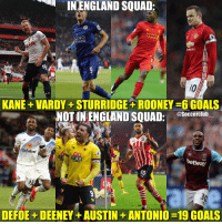 Hmm🤔 Which 4 out of 8 should be in the England squad in your opinion?: INENGLAND SQUAD:  Standard  KING  BROLET  KANE VARDY STURRIDGE ROONEY 6GOALS  asoccerclub  NOTIN ENGLAND SQUAD:  dafabet  1 38  betway  DEFOE DEENEY AUSTIN ANTONIO-19 GOALS Hmm🤔 Which 4 out of 8 should be in the England squad in your opinion?