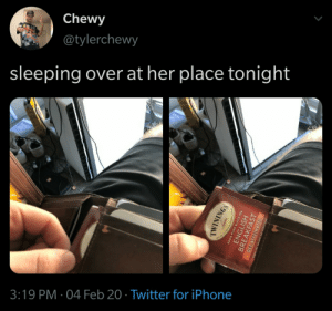 "ineskew:[ID: A tweet by Chewy @tylerchewy with two photos. Text: ""sleeping over at her place tonight."" The first photo is of a hand taking a small, square packet out of a wallet, and the second photo reveals the packet to be a bag of Twinings English Breakfast decaf tea. /end ID]: ineskew:[ID: A tweet by Chewy @tylerchewy with two photos. Text: ""sleeping over at her place tonight."" The first photo is of a hand taking a small, square packet out of a wallet, and the second photo reveals the packet to be a bag of Twinings English Breakfast decaf tea. /end ID]"