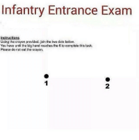 Memes, 🤖, and Dot: Infantry Entrance Exam  Instructions  Using the crayon provided, join the two dots below.  You have until the big hand reaches the 6 to complete this task.  Please do not eat the crayon.
