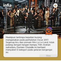 Ali, Anna, and Memes: infia  Meskipun tertimpa kejadian kurang  mengenakan pada perhelatan Oscar 2017.  Segenap kru dan pemain film La La Land, tidak  pulang dengan tangan hampa. Film Arahan  sutradara, Damien Chazelle ini berhasil  menyabet 6 kategori pada gelaran bergengsi  ini.  film Keenam kategori tersebut antar lain, Best production design, Best cinematography, Best score, Best song, Best director, dan Best actress. . Dan inilah list para peraih Oscar 2017 . • Best picture: Moonlight • Best actress: Emma Stone (La La Land) • Best actor: Casey Affleck (Manchester By The Sea) • Best director: Damien Chazelle (La La Land) • Best supporting actress: Viola Davis (Fences) • Best supporting actor: Mahershala Ali (Moonlight) • Best original screenplay • Kenneth Lonergan (Manchester By The Sea) • Best adapted screenplay: Barry Jenkins and Tarell Alvin McCraney (Moonlight) • Best cinematography: Linus Sandgren (La La Land) • Best original score: Justin Hurwitz (La La Land) • Best original song: Justin Hurwitz, Benj Pasek and Justin Paul (La La Land) • Best sound editing: Sylvain Bellemare (Arrival) • Best foreign language film: Asghar Farhadi (The Salesman) • Best film editing: John Gilbert (Hacksaw Ridge) • Best visual effects: Robert Legato, Adam Valdez, Andrew R. Jones and Dan Lemmon (The Jungle Book) • Best production design: David Wasco and Sandy Reynolds Wasco (La La Land) • Best sound mixing: Kevin O'Connell, Andy Wright, Robert Mackenzie and Peter Grace (Hacksaw Ridge) • Best documentary Feature: Ezra Edelman and Caroline Waterlow (O.J.: Made in America) • Best animated film: Byron Howard, Rich Moore and Clark Spencer (Zootopia) • Best animated short film: Alan Barillaro and Marc Sondheimer (Piper) • Best documentary short subject: Orlando von Einsiedel and Joanna Natasegara (The White Helmets) •Best live action short film: Kristof Deak and Anna Udvardy (Sing) • Best make-up: Alessandro Bertolazzi, Giorgio Gregorini and Christopher Nelson (Suicide Squad) • Best costume design: Colleen Atwood (Fantastic Beast and Where To Find Them) infia infiashowbiz oscar2017 winner