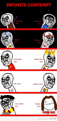 9gag, Burger King, and Harry Potter: INFINITE CONTEMPT  Star Wars  fans  fans  9GAG COM/  JoaoHCruciol  fans  fans  McDonald's  fans  Burger King  fans  Mac users  Widows users  Harry Potter  fans  Twilight  fans  9GAG COM  oao  POKER FACIE  kill your time on 9GAG.COM
