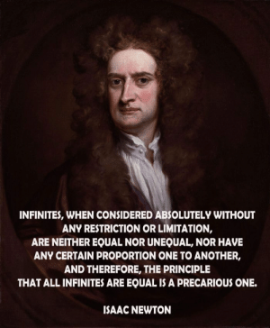 Isaac Newton, Isaac, and Another: INFINITES, WHEN CONSIDERED ABSOLUTELY WITHOUT  ANY RESTRICTION OR LIMITATION,  ARE NEITHER EQUAL NOR UNEQUAL, NOR HAVE  ANY CERTAIN PROPORTION ONE TO ANOTHER,  AND THEREFORE, THE PRINCIPLE  THAT ALL INFINITES ARE EQUAL IS A PRECARIOUS ONE.  ISAAC NEWTON
