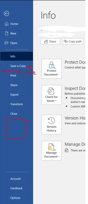 Control, History, and Home: Info  Home  New  Copy path  Share  Open  Info  Protect Do  Save a Copy  Control what typ  Protect  Document  Print  Share  Inspect Do  Before publishin  Export  Check for  Document  Issues  author's nar  Transform  Custom XMI  Close  Version His  View and restore  Version  History  Manage D  There are n  Manage  Document  Account  Feedback  Options why is the save button gone, i cant save (i used ctrl + s and reopened it and it was fine)