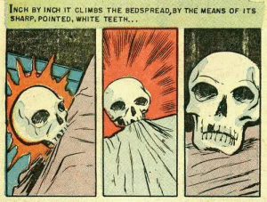 Target, Tumblr, and Blog: INGH BY INCH IT CLIMBs THE BEDSPREAD, BY THE MEANS oF ITS  SHARP, POINTED, WHITE TEETH.. aerthworm:when it's bedtime and i call my pet skull up onto the california king