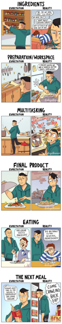 "<p><a href=""http://laughoutloud-club.tumblr.com/post/159492078682/cooking-expectation-vs-reality"" class=""tumblr_blog"">laughoutloud-club</a>:</p>  <blockquote><p>Cooking: Expectation vs Reality</p></blockquote>: INGREDIENTS  EXPECTATION  REALITY  DO... DO WE HAVE  ANY CU-MIN?  WE HAVE SALT  WHAT ABOUT  GROUND TUMERIC?  WAIT ACTUALLY WE  RAN OUT OF SALT  PREPARATION/WORKSPACIE  EXPECTATION  REALITY  I COULDA SWORN WE  I HAD A SHARPER BUTTER  KNIFE SoMEWHERE  MULTITASKING  EXPECTATION  REALITY  BEEP  Jn  BEEB  FINAL PRODUCT  EXPECTATION  REALITY  EATING  EXPECTATION  REALITY  THIS CUISINE  DID YOU FORGET  To ADD..  SEVERAL  INGREDIENTS?  니비 I TASTES  THE NEXT MEAL  EXPECTATION  REALITY  PERHAPS NEXT  TIME I'LL TRY  ADDING A  TEASPOON OF  BALSAMIC  VINEGAR.  COME  CRAWLING  BACK  EH?  CHEF  Co <p><a href=""http://laughoutloud-club.tumblr.com/post/159492078682/cooking-expectation-vs-reality"" class=""tumblr_blog"">laughoutloud-club</a>:</p>  <blockquote><p>Cooking: Expectation vs Reality</p></blockquote>"