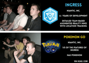 Just put Pokemon on it: INGRESS  NIANTIC, INC.  6+ YEARS OF DEVELOPMENT  DETAILED TEAM-BASED  AUGMENTED REALITY MMO  WITH LOCATION TRACKING  POKEMON GO  NIANTIC, INC.  1/5 OF THE FEATURES OF  INGRESS  HAS POKEMON  VIA 9GAG.COM Just put Pokemon on it
