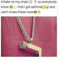 Memes, Asthma, and 🤖: Inhaler on my chain  S so everybody  know that I got asthma  Oes and  can't chase these hoes My dick is small so I beat my meat with tweezers 😎
