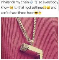 Hoe, Hoes, and Memes: Inhaler on my Chain  $ so everybody  know ,O that I got asthma @ and  can't chase these hoes I'd Rock This 😅😍😂 Get your jewellery and ice this Christmas from @trottersjewellers 💎💎💎💍💍💍⌚⌚⌚