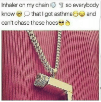 Funny, Hoes, and Asthma: Inhaler on my chain  SU so everybody  know that I got asthma  and  can't chase these hoes 😌😂😂😂