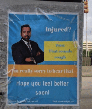 Injured? via /r/funny https://ift.tt/2nVjUyE: Injured?  That sounds  rough  m really sorry to hear thal  Hope you feel better  soon!  iously  re of yourself  Drink water and get ee st Injured? via /r/funny https://ift.tt/2nVjUyE