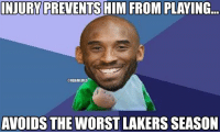"Nba, Kid, and Worst: INJURY PREVENTSHIM FROM PLAYING.  @NBAMEMES  AVOIDS THE WORST LAKERS SEASON Kobe Bryant ""Success Kid""! Credit: Bryce Vendiome"