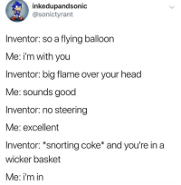 Dank, Head, and Good: inkedupandsonic  @sonictyrant  Inventor: so a flying balloon  Me: i'm with you  Inventor: big flame over your head  Me: sounds good  Inventor: no steering  Me: excellent  Inventor: *snorting coke* and you're in a  wicker basket  Me: i'm irn