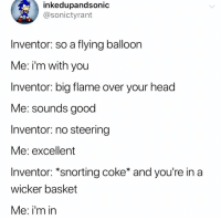 Fucking, Head, and Memes: inkedupandsonic  @sonictyrant  Inventor: so a flying balloon  Me: i'm with you  Inventor: big flame over your head  Me: sounds good  Inventor: no steering  Me: excellent  Inventor: *snorting coke* and you're ina  wicker basket  Me: i'm in So fucking in!!! Let's write out the rest of this business plan!