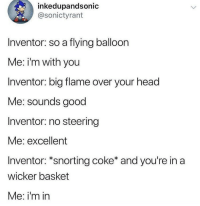 Head, Good, and MeIRL: inkedupandsonic  @sonictyrant  Inventor: so a flying balloon  Me: i'm with you  Inventor: big flame over your head  Me: sounds good  Inventor: no steering  Me: excellent  Inventor: *snorting coke* and you're in a  wicker basket  Me: i'm in meirl