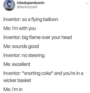 Dank, Head, and Memes: inkedupandsonic  @sonictyrant  Inventor: so a flying balloon  Me: i'm with you  Inventor: big flame over your head  Me: sounds good  Inventor: no steering  Me: excellent  Inventor: *snorting coke* and you're in a  wicker basket  Me: i'm in Meirl by Rasuco MORE MEMES
