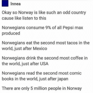There are only 5 million people in Norway: Innea  Okay so Norway is like such an odd country  cause like listen to this  Norwegians consume 9% of all Pepsi max  produced  Norwegians eat the second most tacos in the  world, just after Mexico  Norwegians drink the second most coffee in  the world, just after USA  Norwegians read the second most comic  books in the world, just after japan  There are only 5 million people in Norway There are only 5 million people in Norway