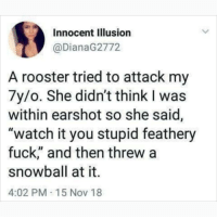 "Memes, Fuck, and Watch: Innocent Illusion  @DianaG2772  A rooster tried to attack my  7y/o. She didn't think I was  within earshot so she said,  ""watch it you stupid feathery  fuck,"" and then threw a  snowball at it.  4:02 PM 15 Nov 18 I'm dying at what @memezar just posted 😂😂"