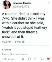 "Children, Memes, and Fuck: Innocent Illusion  @DianaG2772  A rooster tried to attack my  7y/o. She didn't think I was  within earshot so she said,  ""watch it you stupid feathery  fuck,"" and then threw a  snowball at it.  4:02 PM 15 Nov 18  Children  Source: 30-minute-memes  4,481 notes Stupid feathery fuck"