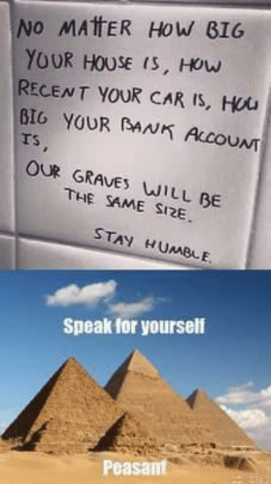 Dank, Memes, and Target: INO MATER HOW BIG  YOUR HOUSE is, How  RECENT YOUR CAR IS, Hou  BIG YOUR AN ALCOUNT  Ts  OUR GRAVE WILL BE  THE SAME SI2E  STAY HUMBLE  Speak for yourself  Peasant Stay Humble Peasants by Kashim_Tumsah MORE MEMES