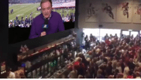 Nfl, Wild, and Sunday: Insane footage of a bar going wild for Cris Collinsworth Sunday night slide-in 😂