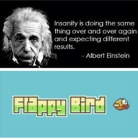 <p>Einstein Knows Flappy Bird</p>: Insanity is doing the same  thing over and over again  and expecting different  results  - Albert Einstein <p>Einstein Knows Flappy Bird</p>