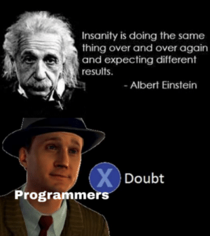 Let me run it again: Insanity is doing the same  thing over and over again  and expecting different  results  Albert Einstein  XDoubt  Programmers Let me run it again