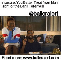 """Insecure: You Better Treat Your Man Right or the Bank Teller Will - blogged by: @msjennyb - ⠀⠀⠀⠀⠀⠀⠀⠀⠀ ⠀⠀⠀⠀⠀⠀⠀⠀⠀ The season finale of InsecureHBO had social media in a frenzy; a timeline divided. Most were TeamLawrence, happy that he finally """"bossed up on that b*tch,"""" as some said. Others were TeamIssa, while the rest were TeamBankBae. But, what is the real reason Insecure's """"Broken as F*ck"""" episode had people up in arms? ⠀⠀⠀⠀⠀⠀⠀⠀⠀ ⠀⠀⠀⠀⠀⠀⠀⠀⠀ Now that we've all had a chance to digest, let's break down season one of """"Insecure"""" (if you aren't caught up, don't read further if you want to avoid spoilers)… ⠀⠀⠀⠀⠀⠀⠀⠀⠀ ⠀⠀⠀⠀⠀⠀⠀⠀⠀ In episode 1, """"Insecure as F*ck,"""" the show opens up with a rough introduction to Issa, her life and the non-profit that she works for, We Got Y'all. Also it's her birthday. Immediately afterwards, before we meet Issa's boyfriend Lawrence, we are introduced to Daniel (Issa's ex-beau). Although she goes on and on about wanting to give Lawrence the boot, she stays in the relationship and decides to entertain her ex. Fast forward to the end of the episode, Issa ends up at Daniel's house. He gets in her car and they kiss. Issa tells Daniel that she just got out of a relationship (meanwhile she never officially broke up with Lawrence) and he tells her he isn't looking for a relationship and leaves her car. At the end, Issa ends up at her best friend Molly's house for the night. ⠀⠀⠀⠀⠀⠀⠀⠀⠀ ⠀⠀⠀⠀⠀⠀⠀⠀⠀ Episode 2 """"Messy as F*ck"""": Issa is still at Molly's house, ignoring Lawrence's calls. She goes to Rite Aid to pick up a few things, then she runs into Lawrence. At this point Lawrence is caught completely off guard. He has no idea why Issa is upset or what her problem is. He thinks it's because he ruined her birthday, however, it's really because he's complacent in his lack of employment and drive. After their little spat at Rite Aid, Issa is still crashing at Molly's house. In the meantime, Lawrence tries to turn things around for himself and Issa. ⠀⠀⠀⠀⠀⠀⠀⠀⠀ ⠀⠀⠀⠀"""