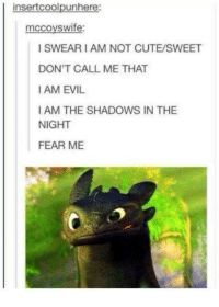 Cute, Humans of Tumblr, and Evil: insertcoolpunher  mccoyswife:  I SWEAR I AM NOT CUTE/SWEET  DON'T CALL ME THAT  I AM EVIL  I AM THE SHADOWS IN THE  NIGHT  FEAR ME