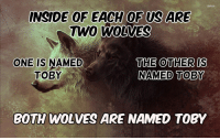 Wolves, MeIRL, and One: INSIDE 0F EACH OF US ARE  TWO  WOLVES  THE OTHER IS  NAMED TOBY  ONE IS NAMED  BOTH WOLVES ARE NAMED TOBY meirl