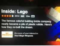 Lego, Mega, and How: Inside: Lego  2014 NR 20m HD  The famous colorful building bricks company  nearly became a pile of plastic rubble. Here's  how they re-built the dream.  AD  MEGA WEAPON  Because of your interest in:  Nazi Mega Weapons