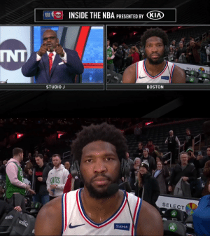 """Shaq & Chuck thank & praise Joel Embiid after his dominant 38 PT performance.   Shaq with a shot at JaVale at the end:   """"Thank you for listening. A lot of people call their mamas and try to get people fired.""""    https://t.co/clf8It4JEj: INSIDE THE NBA PRESENTED BY KIA  NBA  TON  INT  SELECT  SE  StubHub  Acelics  BOSTON  STUDIO J   YAVE  CHLICS  SELECT  CELT  StubHub  ecelies  ecelfics Shaq & Chuck thank & praise Joel Embiid after his dominant 38 PT performance.   Shaq with a shot at JaVale at the end:   """"Thank you for listening. A lot of people call their mamas and try to get people fired.""""    https://t.co/clf8It4JEj"""