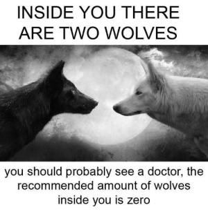 Doctor, Zero, and Wolves: INSIDE YOU THERE  ARE TWO WOLVES  you should probably see a doctor, the  recommended amount of wolves  inside you is zero