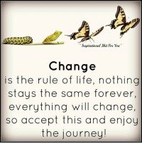 Journey, Life, and Forever: Inspirational Shat for you.  Change  is the rule of life, nothing  stays the same forever,  everything will change,  so accept this and enjoy  the journey