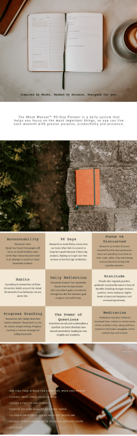 awesomage: Monk Manual Planner: A Daily System For Peaceful Being and Purposeful Doing A 90-day planner that helps you focus on the most important things, so you can live each moment with greater peace, purpose and productivity. Fully funded in less than 4 hrs and 300% funded so far. Only a few early birds left, HURRY UP to lock in your pledge now: http://bit.ly/monk-manuals : Inspired by Monks. Backed by Science. Designed for you.  The Monk Manual90 Day Planner is a daily system that  helps you focus on the most important things, so you can live  each moment with greater purpose, productivity and presence   Accountability  Reseacher John  Bargh has found that people will  focus on small mindless tasks  rather than real productive work  90 Days  Research by Janet Polivy shows that  our brain often fails to commit to  long-term goals because it fears big  projects, leading us to quit our new  venture at the first sign of distress.  Focus vs  Distracted  Research by Anders Ericsson  showed that the best performers  were not spending more time on  their craft, rather, they were being  more productive during their  practice sessions.  in an attempt to avoid our  most  important projects.  Habits  According to researchers at Duke  University, habits account for about  40 percent of our behaviors on any  given day  Daily Reflection  Empirical research has repeatedly  shown that striving toward  self-concordant goals consistently  strengthens the link between goal  progress and well-being.  Gratitude  People who regularly practice  gratitude consistently report a host of  benefits including stronger immune  systems, stress resiliance, higher  levels of personal happiness and  increased generosity  Progress Tracking  Researcher John Bargh describes  robotic behavior ('busywork) as the  #1 enemy of goal striving. Progress  tracking is a known strategy for  culling busywork.  The Power of  Questions  Everytime we ask and contemplate a  question our brain develops new  neural connections, leading to new  insights and creativity  Meditation  Meditation has been linked to  increased brain volume in certain areas  of the cerebral cortex, along with less  volume in the brain's amygdala, which  controls fear and anxiety   - ONE FULL PAGE SPREAD FOR EVERY DAY, WEEK AND MONTH  - FLEXIBLE NOTE SPACE ON EACH PAGE  -COVERS A FULL 90-DAY PERIOD  PRINTED ON HIGH QUALITY ACID FREE PAPER  - 256 PAGES PRINTED IN COLOR WI  - SADDLE STITCH BINDING WITH VEGAN PU LEATHER COVER  SOY BASED INK  LAYS FLAT! awesomage: Monk Manual Planner: A Daily System For Peaceful Being and Purposeful Doing A 90-day planner that helps you focus on the most important things, so you can live each moment with greater peace, purpose and productivity. Fully funded in less than 4 hrs and 300% funded so far. Only a few early birds left, HURRY UP to lock in your pledge now: http://bit.ly/monk-manuals