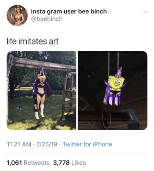 When the call for being a Goofy Goober is too real: insta gram user bee binch  @beebinch  life imitates art  IG @beebinch  11:21 AM 7/25/19 Twitter for iPhone  1,061 Retweets 3,778 Likes When the call for being a Goofy Goober is too real