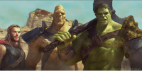 """A fan's rendering of what we might get to see in Thor: Ragnarok.  """"Hulk, Korg, and Thor"""" by The Art of George Evangelista http://www.artofgeorge.com/  (Nerds Love Art): instag am georgeevangelista  www.facebook com/gze art A fan's rendering of what we might get to see in Thor: Ragnarok.  """"Hulk, Korg, and Thor"""" by The Art of George Evangelista http://www.artofgeorge.com/  (Nerds Love Art)"""