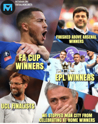 Arsenal, Instagram, and Memes: INSTAGRAM.COM/  FOOTBALLMEMESINSTA  yL  FINISHED ABOVE ARSENAL  WINNERS  WINNERS  EPL WINNERS  UCL FINALISTS  LFC  WE STOPPED MAN CITY FROM  CELEBRATING AT HOME WINNERS This 😂😂