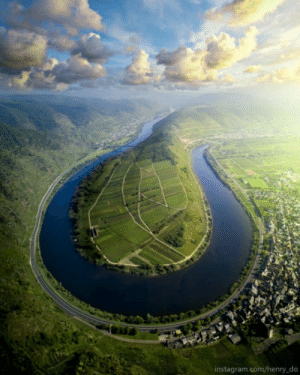 Instagram, Germany, and Com: instagram.com/henry do Stunning aerial view of the Moselle River bend in Germany.