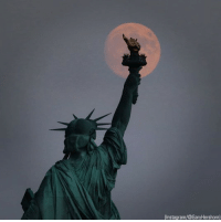 Friday, Instagram, and Memes: (Instagram/@GaryHershorn) The moon rises over the Statue of Liberty Friday night. (📷: @garyhershorn)