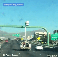 "Memes, 🤖, and Monsters: Instagram Moy monster  El Paso, Texas  Giles I  Hunter  obcNEWS Via: @ABCnews-""CLOSE CALL: Raised cherry picker narrowly avoids highway signs while cruising along an interstate in Texas. Thankfully, drivers were able to flag he driver down and no one was injured"""