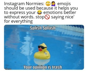 The ability to speak does not make you intelligent: Instagram Normies:  should be used because it helps you  to express your emotions better  without words. stop saying nice  for everything  emojis  Splish Splash  Your opinion is trash  ngflip.com The ability to speak does not make you intelligent