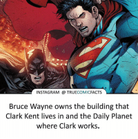 Bruce Wayne owns everything and everyone! ⠀_______________________________________________________ superman joker redhood martianmanhunter dc batman aquaman greenlantern ironman like spiderman deadpool deathstroke rebirth dcrebirth like4like facts comics justiceleague bvs suicidesquad benaffleck starwars darthvader marvel flash doomsday coolio christianbale: INSTAGRAM TRUE  COMIC  FACTS  Bruce Wayne owns the building that  Clark Kent lives in and the Daily Planet  where Clark works. Bruce Wayne owns everything and everyone! ⠀_______________________________________________________ superman joker redhood martianmanhunter dc batman aquaman greenlantern ironman like spiderman deadpool deathstroke rebirth dcrebirth like4like facts comics justiceleague bvs suicidesquad benaffleck starwars darthvader marvel flash doomsday coolio christianbale