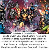 Marvel always thinking ahead! ⠀_______________________________________________________ superman joker redhood martianmanhunter dc batman aquaman greenlantern ironman like spiderman deadpool deathstroke rebirth dcrebirth like4like facts comics justiceleague bvs suicidesquad benaffleck starwars darthvader marvel flash doomsday xmen daredevil: INSTAGRAM TRUE  COMIC  FACTS  Due to laws in USA, importing toys resembling  humans are taxed higher than those that dont  Marvel successfully argued in court that because  their X-men action figures are mutants and  therefore should be exempt from such higher tax. Marvel always thinking ahead! ⠀_______________________________________________________ superman joker redhood martianmanhunter dc batman aquaman greenlantern ironman like spiderman deadpool deathstroke rebirth dcrebirth like4like facts comics justiceleague bvs suicidesquad benaffleck starwars darthvader marvel flash doomsday xmen daredevil