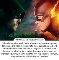 Batman, Facts, and Instagram: INSTAGRAM TRUE  COMIC  FACTS  when Barry Allen was introduced on Arrow he was supposed  to become the Flash atthe end of a three episode arc as a soft  pilot for his own show. This was a safeguard in case the show  didn't work, allowing Barry to join Team Arrow as a main cast  member. However, The CW liked the first two episodes so much,  they ordered an official pilot for The Flash. Barry or Oliver?l ⠀_______________________________________________________ superman joker redhood martianmanhunter dc batman aquaman greenlantern ironman like spiderman deadpool deathstroke rebirth dcrebirth like4like facts comics justiceleague bvs suicidesquad benaffleck starwars darthvader marvel flash doomsday blackbeard darthmaul