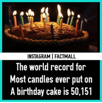 Birthday, Memes, and Cake: INSTAGRAMI FACTMALL  The world record for  Most candles ever put on  A birthday cake is 50,151 Woah 😍